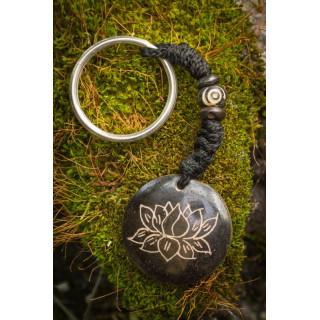 Black Lotus Flower Keyring