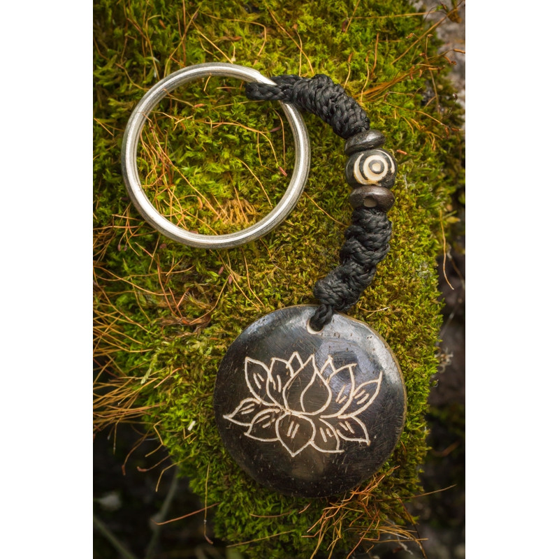 Black Lotus Flower Keyring