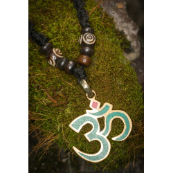 Turquoise Stone Om Necklace