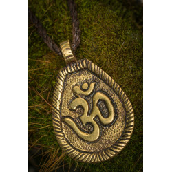 Brass Om Pendant Necklace
