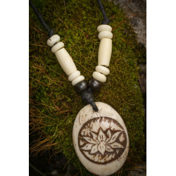 Carved Lotus Bone Necklace