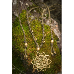 Flower of Life Sun Brass Necklace