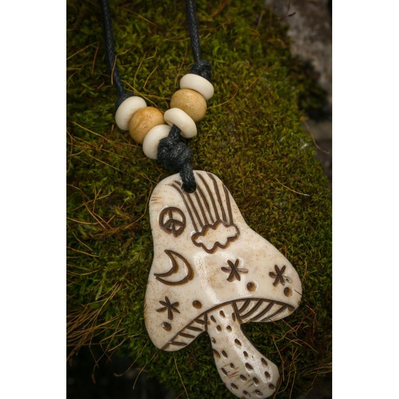 Mushroom Bone Necklace