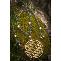 Flower of Life Large Brass Necklace