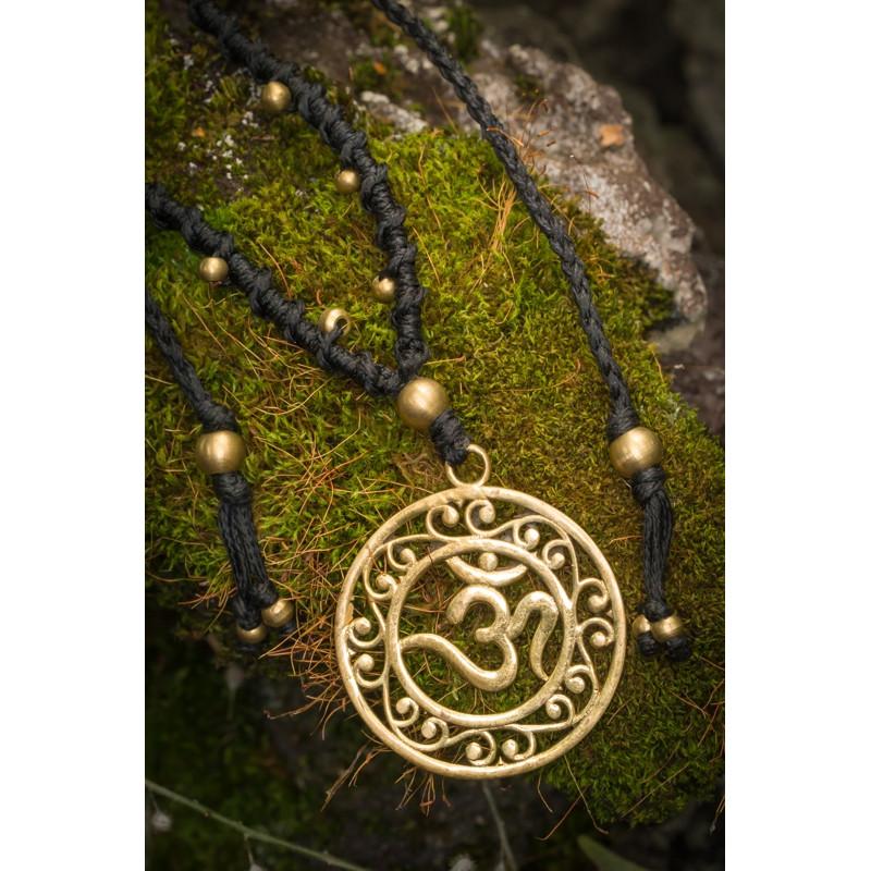 Om Mandala Brass Necklace