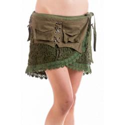 Moskitoo Steampunk Mini Skirt Olive Green