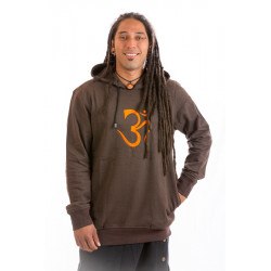 Moskitoo Om Relax Hoodie Pullover Baumwolle Nepal Braun Om Grün