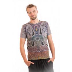 Cotton men t-shirt  chakra mirror moskitoo india kult grey