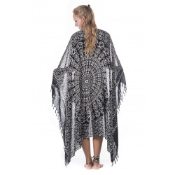 Schwarzer Mandala Sarong Viskose Moskitoo India Kult Yoga Strand Kleid