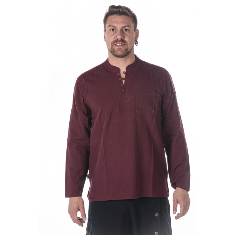 Cotton neckless shirt bordo moskitoo