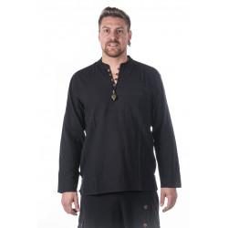 Cotton neckless shirt black moskitoo
