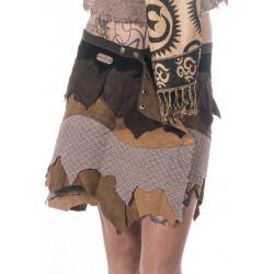 Hukkandeka Leather Miniskirt