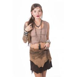 tribe-echt-leder-minirock-einzelstück-moskitoo-india-kult-braun-druckknopf-verschluss