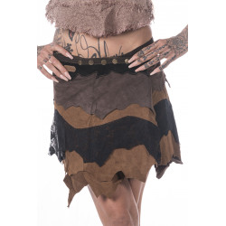 Garo Tribe Leather Miniskirt