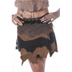 Garo Tribe Leather Miniskirt