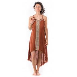 gypsy dress-front_short_back_long-dress-blockprint-cotton-sand-rust-orange-boho-hippie-dress-moskitoo-india-kult