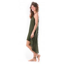gypsy dress-front_short_back_long-dress-blockprint-cotton-sand-olive-boho-hippie-dress-moskitoo-india-kult