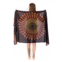 mandala-sarong-lungi-pareo-coral-darkgreen-summer-beach-dress-yoga-towel-moskitoo-india-kult